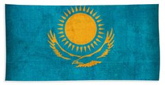 Kazakhstan Flag Vintage Distressed Finish Beach Towel