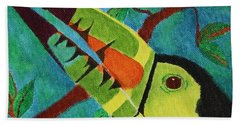 Beach Towel featuring the painting Keel-billed Toucan by Amy Gallagher