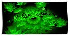 Keep Calm - Green Fractal Weed Art Beach Sheet