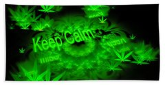 Keep Calm - Green Fractal Weed Art Beach Towel