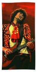Keith Richards Painting Beach Towel by Paul Meijering