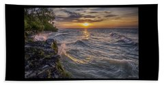 Kelleys Island At Sunset Beach Towel