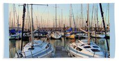 Kemah Boardwalk Marina Beach Towel by Savannah Gibbs