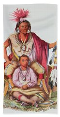 Keokuk Or Watchful Fox, Chief Of The Sauks And Foxes, And His Son, Musewont Or Long-haired Fox Beach Towel