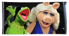 Kermit Takes Miss Piggy To The Movies Beach Towel by Nina Prommer
