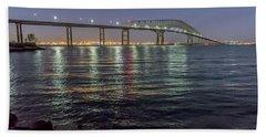 Key Bridge At Night Beach Towel