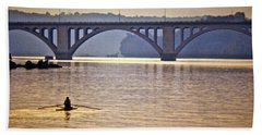 Key Bridge Rower Beach Sheet by Stuart Litoff