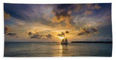 Key West Florida Sunset Mallory Square Beach Sheet