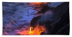 Kilauea Volcano Lava Flow Sea Entry 5 - The Big Island Hawaii Beach Towel