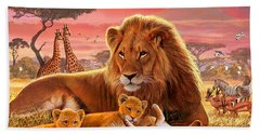 Kilimanjaro Male Lion With Cubs Beach Towel