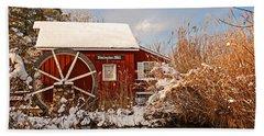 Kimberton Mill After Snow Beach Sheet by Michael Porchik