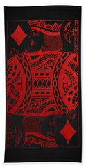 King Of Diamonds In Red On Black Canvas   Beach Towel