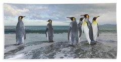 King Penguin In The Surf Beach Sheet by Yva Momatiuk John Eastcott
