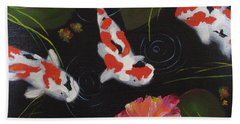 Beach Towel featuring the painting Kippycash Koi by Judith Rhue