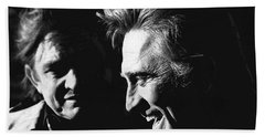 Beach Sheet featuring the photograph Kirk Douglas Laughing Johnny Cash Old Tucson Arizona 1971 by David Lee Guss