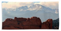 Kissing Camels Against Pikes Peak Beach Towel by Clarice  Lakota