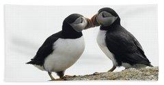 Kissing Puffins Beach Towel