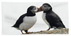 Kissing Puffins Beach Towel