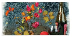 Kitchen - Peaches And Wine Painting  Beach Towel