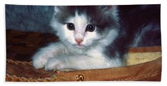Beach Towel featuring the photograph Kitten In Slipper by Sally Weigand