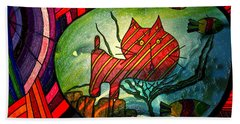 Kitty In A Fish Bowl - Abstract Cat Beach Sheet