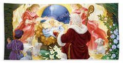 Kneeling Santa Nativity Beach Towel