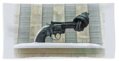 Knotted Gun Sculpture At The United Nations Beach Sheet
