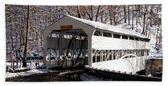 Knox Bridge In The Snow Beach Sheet by Michael Porchik