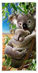 Koala And Cub Beach Towel