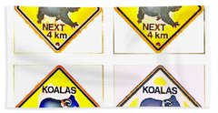 Koalas Road Sign Pop Art Beach Towel