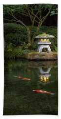 Koi By Lantern Light Beach Sheet