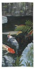 Beach Towel featuring the painting Koi Fish by Karen Zuk Rosenblatt