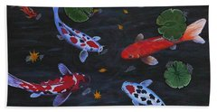 Koi Fishes Original Acrylic Painting Beach Sheet