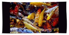 Beach Towel featuring the photograph Koi Pond by Marie Hicks
