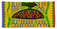 Beach Towel featuring the digital art Kuna Bird With Snake by Vagabond Folk Art - Virginia Vivier
