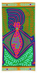 Beach Towel featuring the digital art Kuna Indian Mother Earth by Vagabond Folk Art - Virginia Vivier