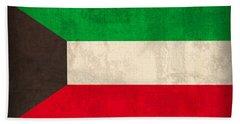 Kuwait Flag Vintage Distressed Finish Beach Towel