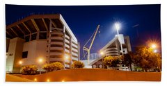 Kyle Field At Night Beach Towel by Linda Unger