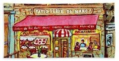 La Patisserie De Nancy French Pastry Boulangerie Paris Style Sidewalk Cafe Paintings Cityscene Art C Beach Towel