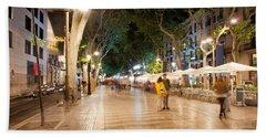 La Rambla At Night  In Barcelona Beach Towel