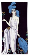'la Roseraie' Fashion Design For An Evening Dress By The House Of Worth Beach Towel by Georges Barbier