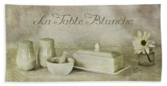 La Table Blanche - The White Table Beach Sheet by Betty Denise