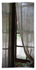 Lace Window Covering. Beach Towel