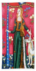 Lady And The Unicorn La Pointe Beach Towel by Genevieve Esson
