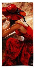 Lady In Red 21 Beach Sheet
