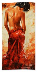 Lady In Red 27re Large  Beach Towel by Emerico Imre Toth