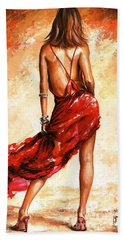 Lady In Red 40 Beach Sheet by Emerico Imre Toth