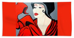 Lady In Red  Art Deco Beach Towel