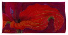 Beach Towel featuring the painting Lady In Red by Sandi Whetzel
