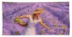 Woman Picking Lavender In A Field In A White Dress - Lady Lavender - Plein Air Painting Beach Towel